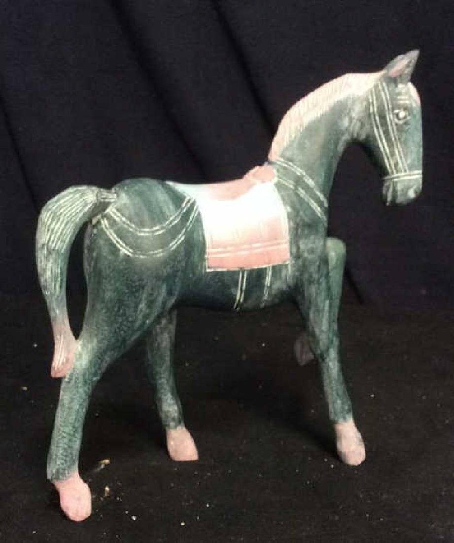 Hand Crafted Painted Wood Horse Figure - 8