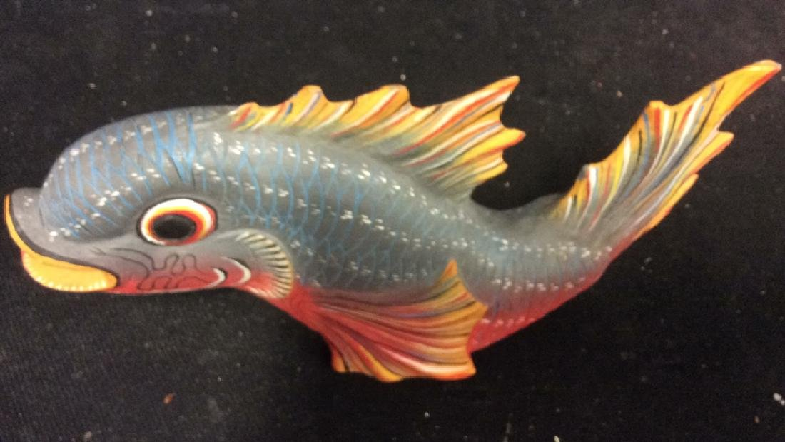 Carved Painted Wood Fish Figural - 10