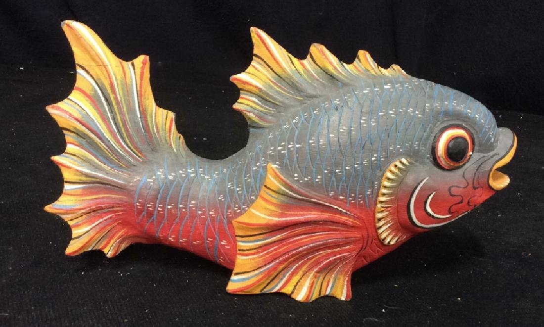 Carved Painted Wood Fish Figural