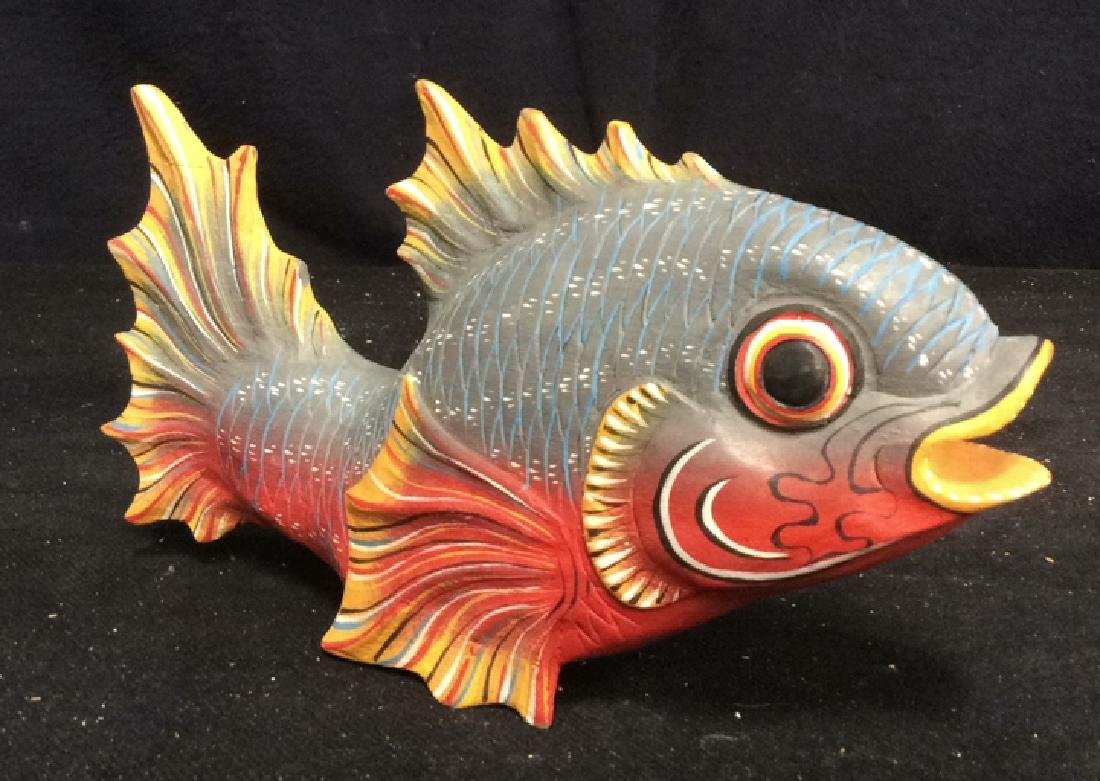 Carved Painted Wood Fish Figural - 2