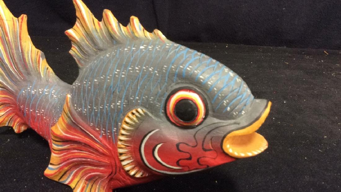 Carved Painted Wood Fish Figural - 3