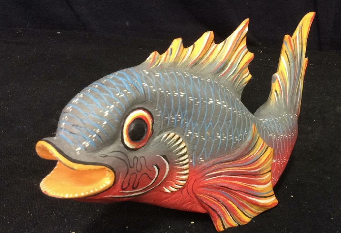 Carved Painted Wood Fish Figural - 4