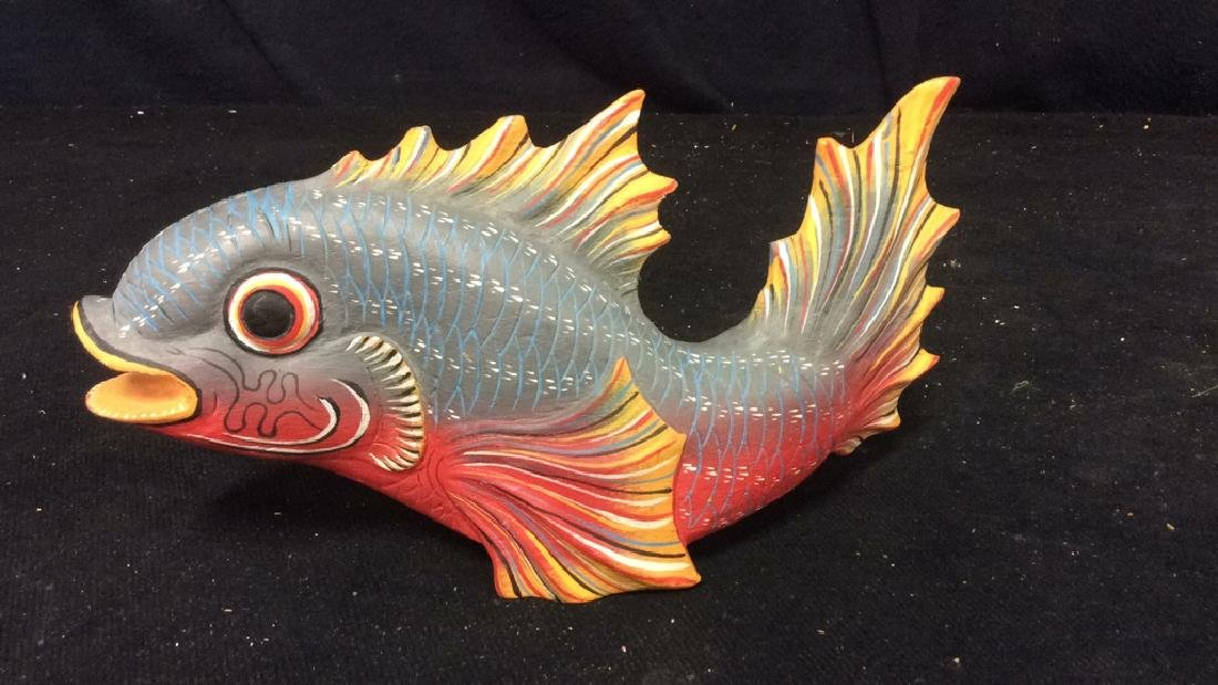 Carved Painted Wood Fish Figural - 5