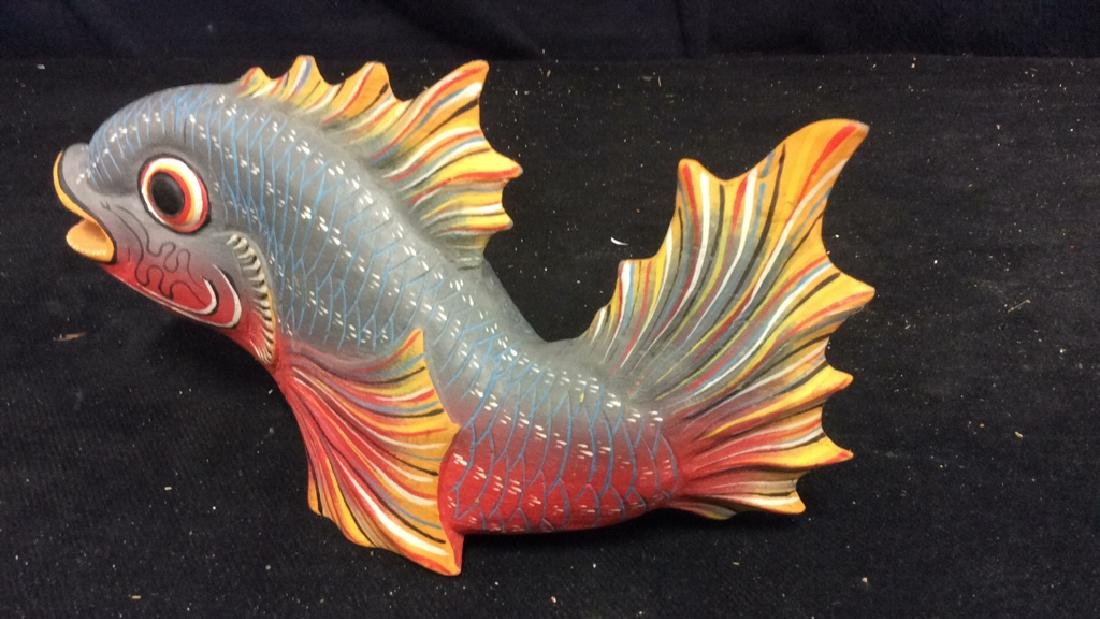Carved Painted Wood Fish Figural - 6