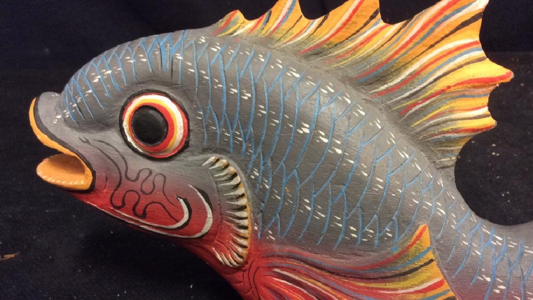 Carved Painted Wood Fish Figural - 8