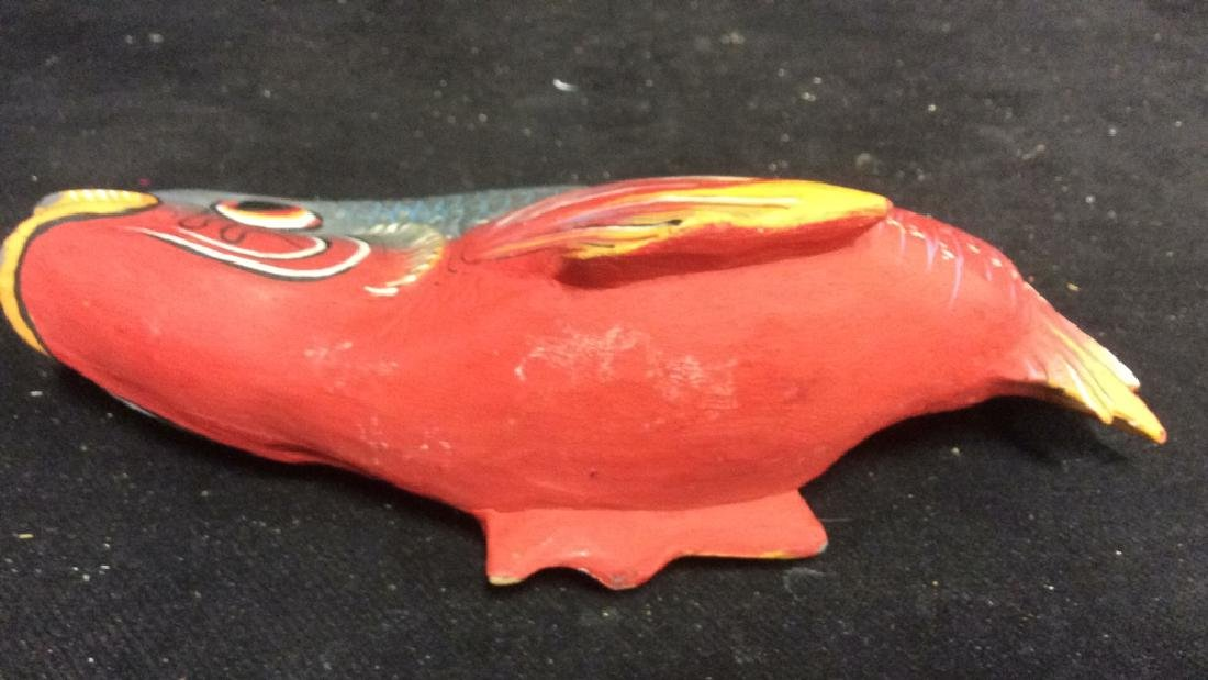 Carved Painted Wood Fish Figural - 9