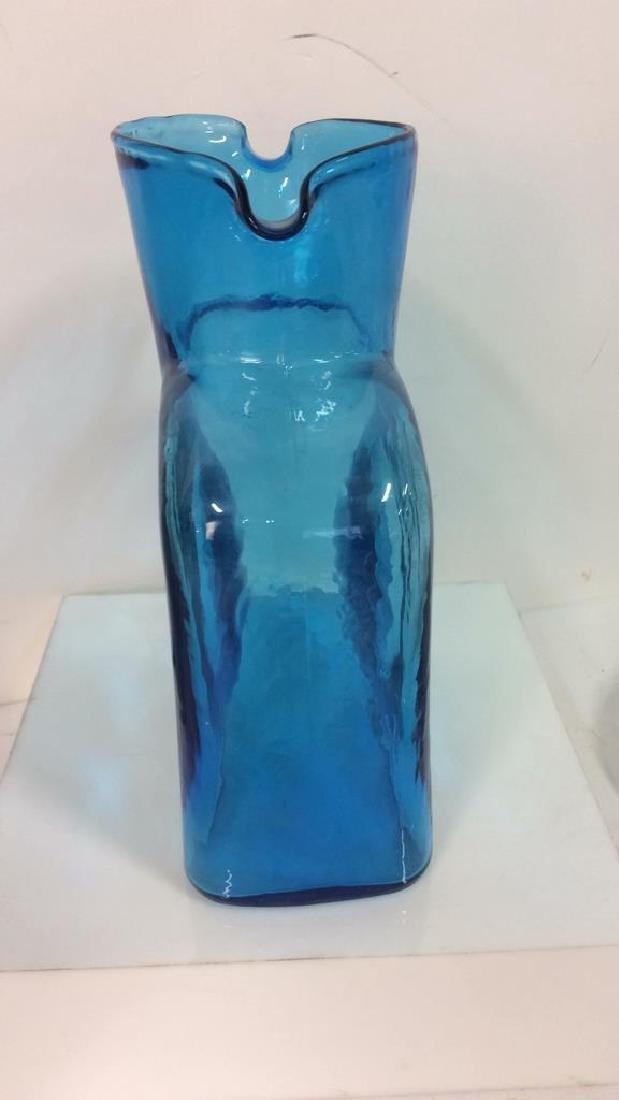 Vintage Turquoise Blue Glass Vase Pitcher - 4