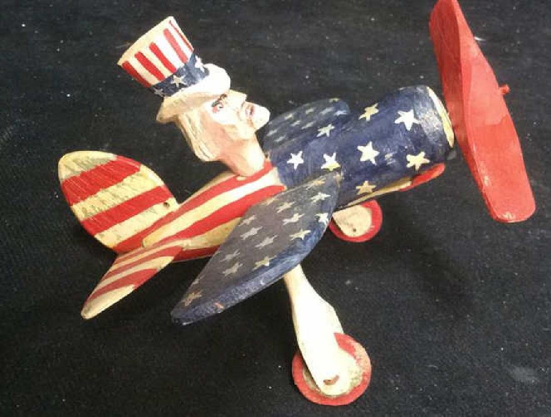 Caw Roberts Folk Art Uncle Sam inAirplane - 10