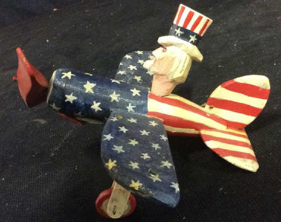 Caw Roberts Folk Art Uncle Sam inAirplane - 6