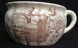 Brown and White Ironstone Chamber Pot