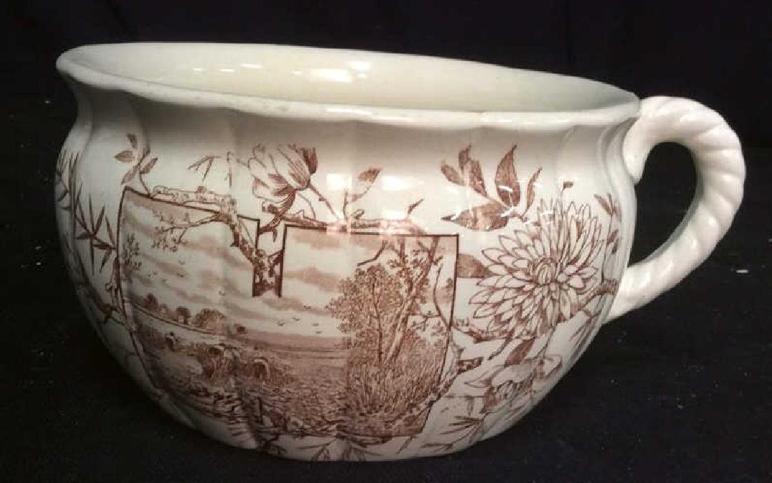 Brown and White Ironstone Chamber Pot - 2