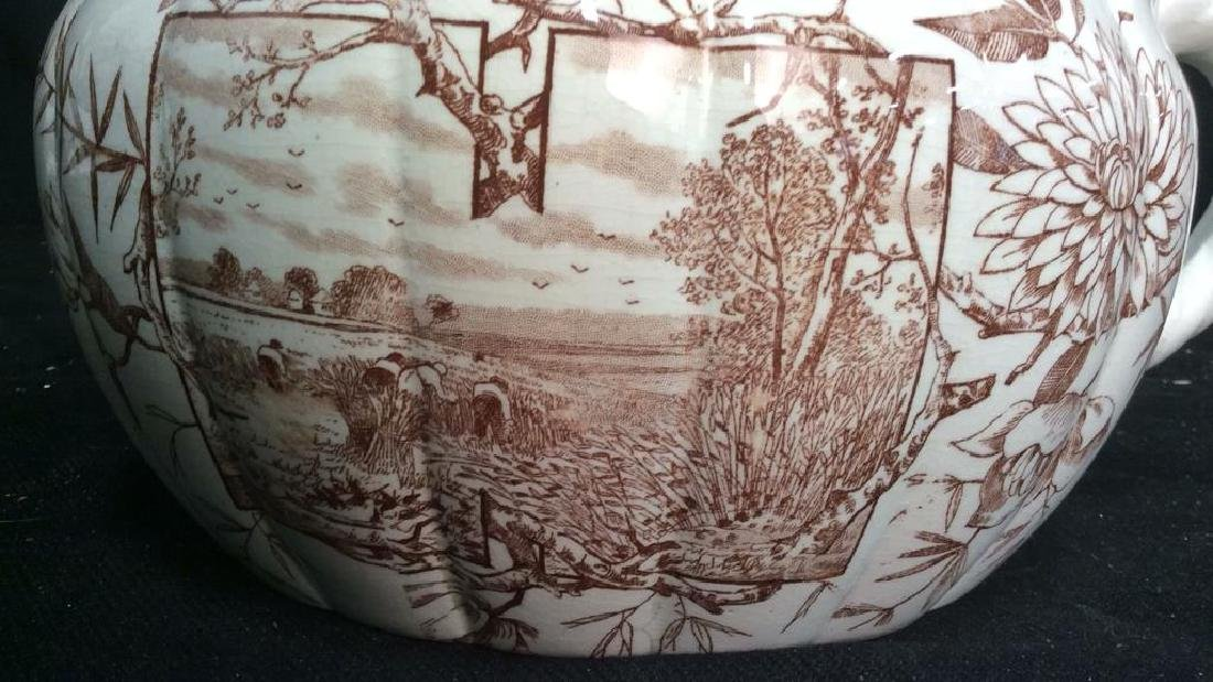 Brown and White Ironstone Chamber Pot - 3