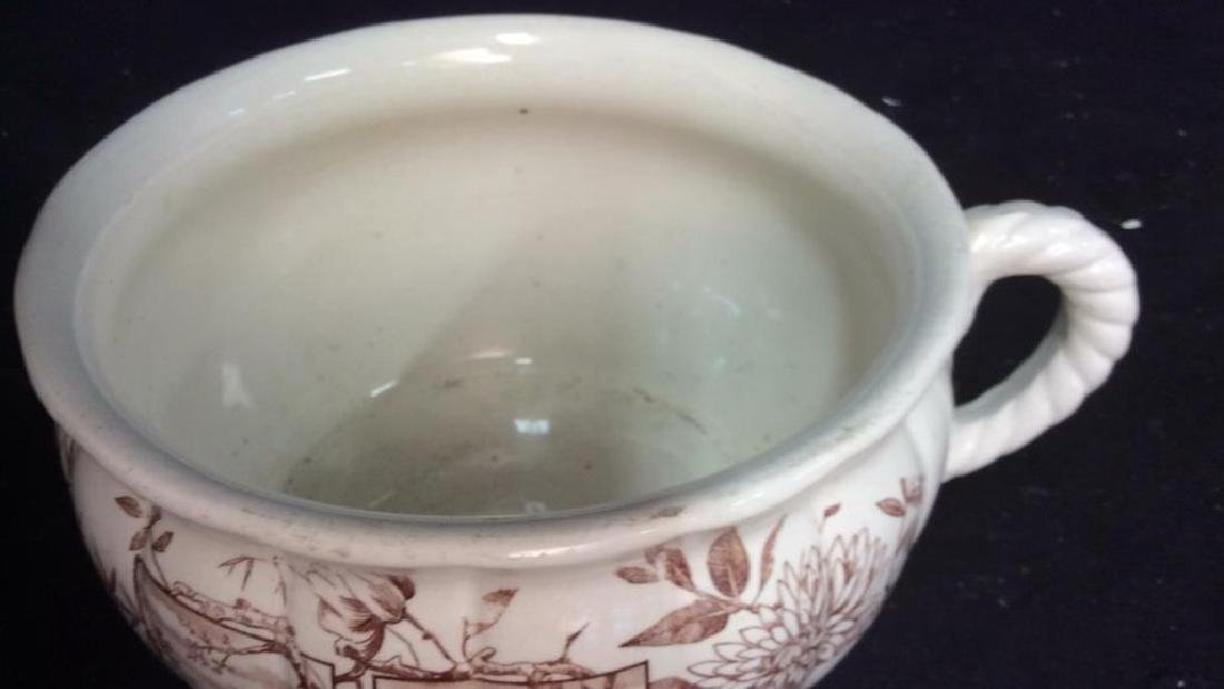 Brown and White Ironstone Chamber Pot - 4