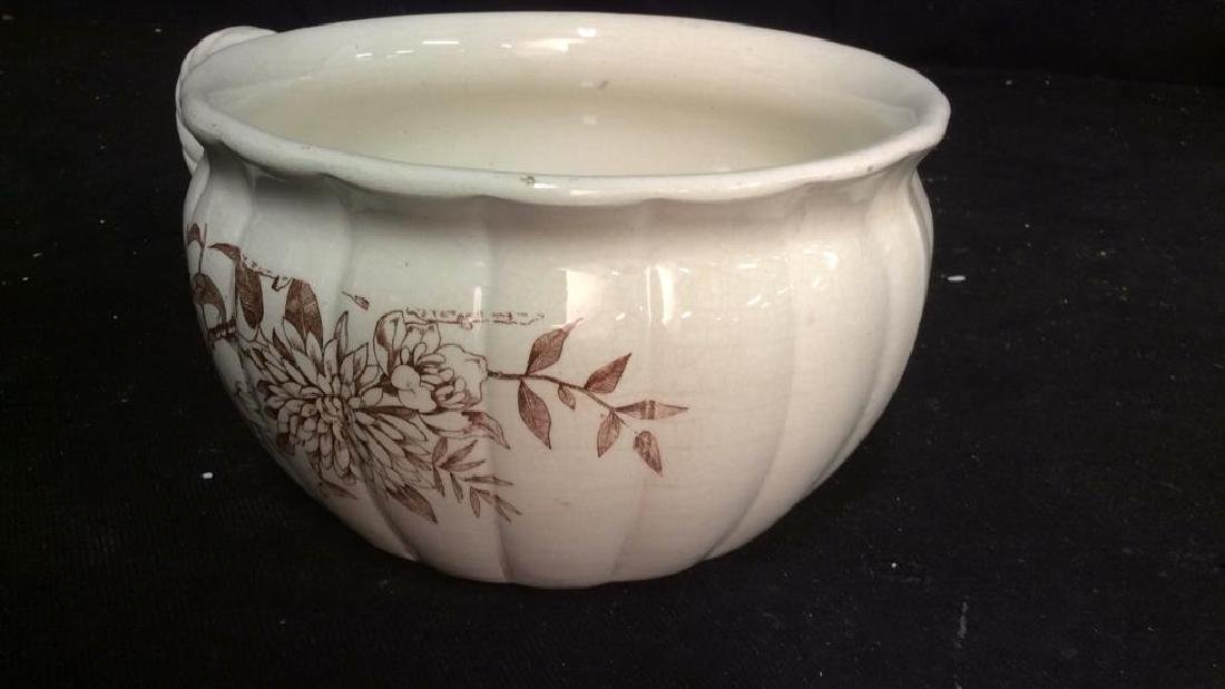 Brown and White Ironstone Chamber Pot - 6