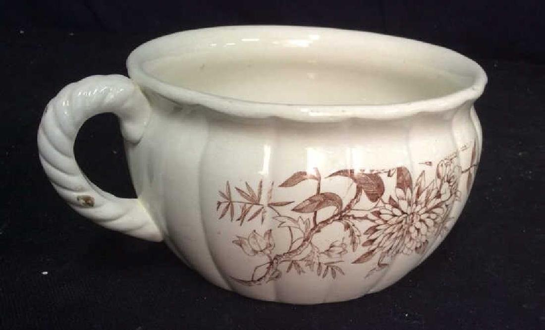 Brown and White Ironstone Chamber Pot - 7