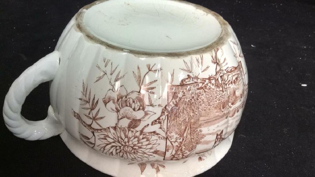 Brown and White Ironstone Chamber Pot - 9