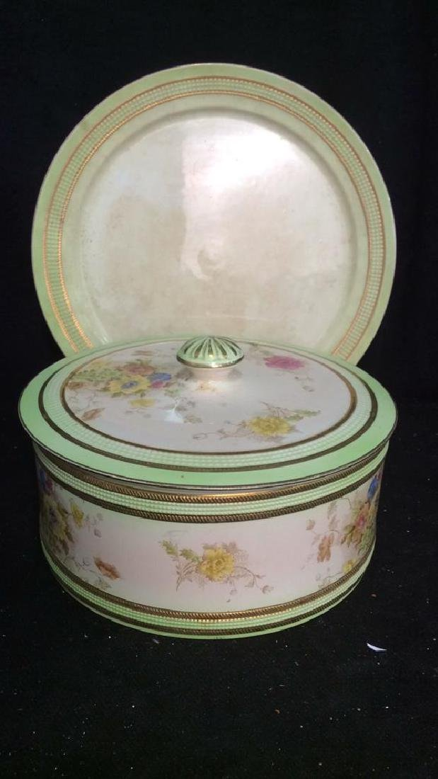 RIPON, Hand Painted Lidded Bowl w Underplate - 7