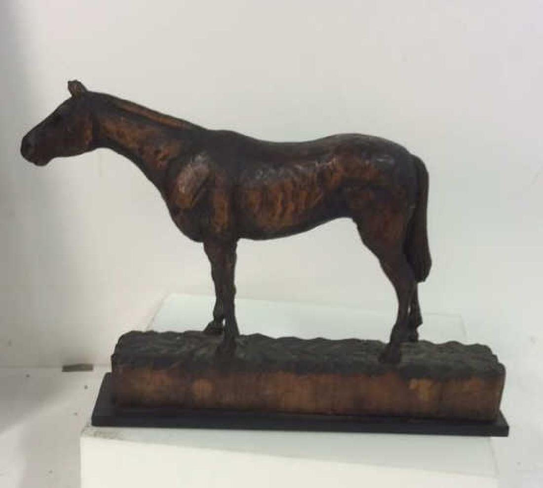 Carved Wood Horse Sculpture on Stand