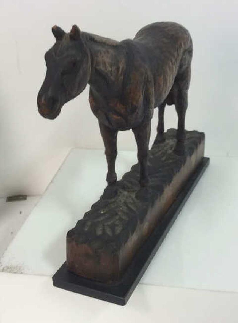 Carved Wood Horse Sculpture on Stand - 3