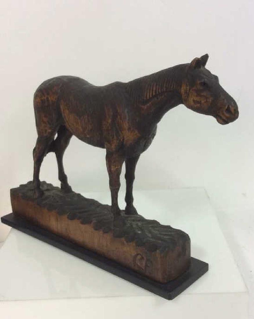 Carved Wood Horse Sculpture on Stand - 4