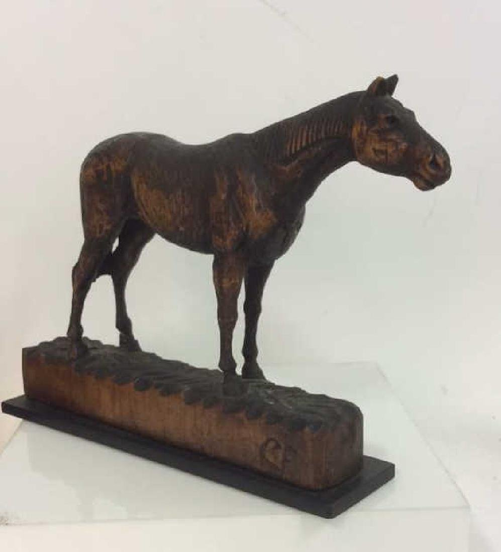 Carved Wood Horse Sculpture on Stand - 5