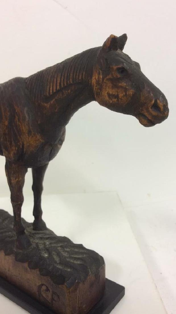 Carved Wood Horse Sculpture on Stand - 6