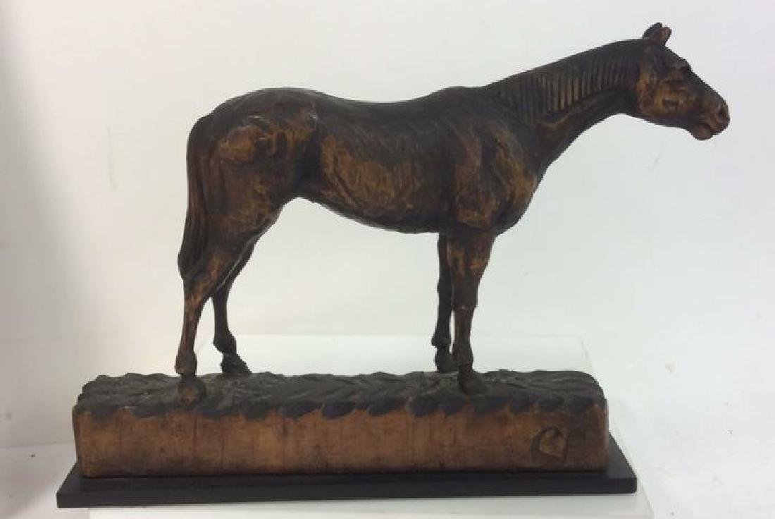 Carved Wood Horse Sculpture on Stand - 8