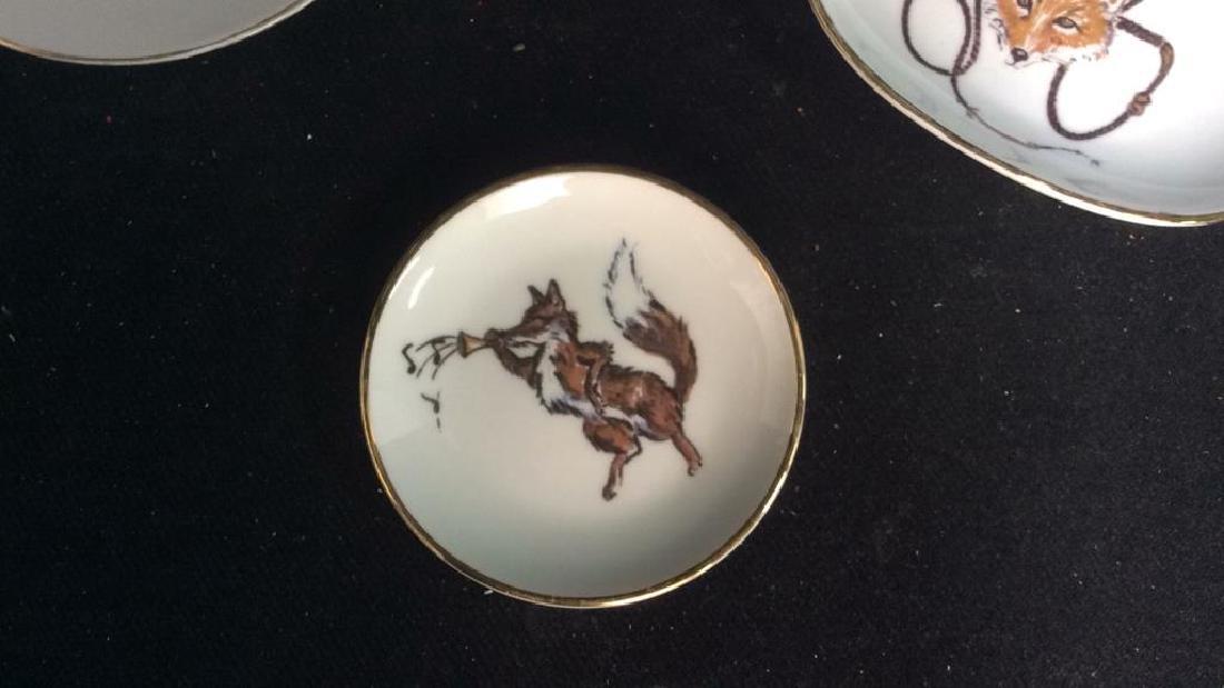 Group Fox Hunt Themed Porcelain Trinket Plates - 10