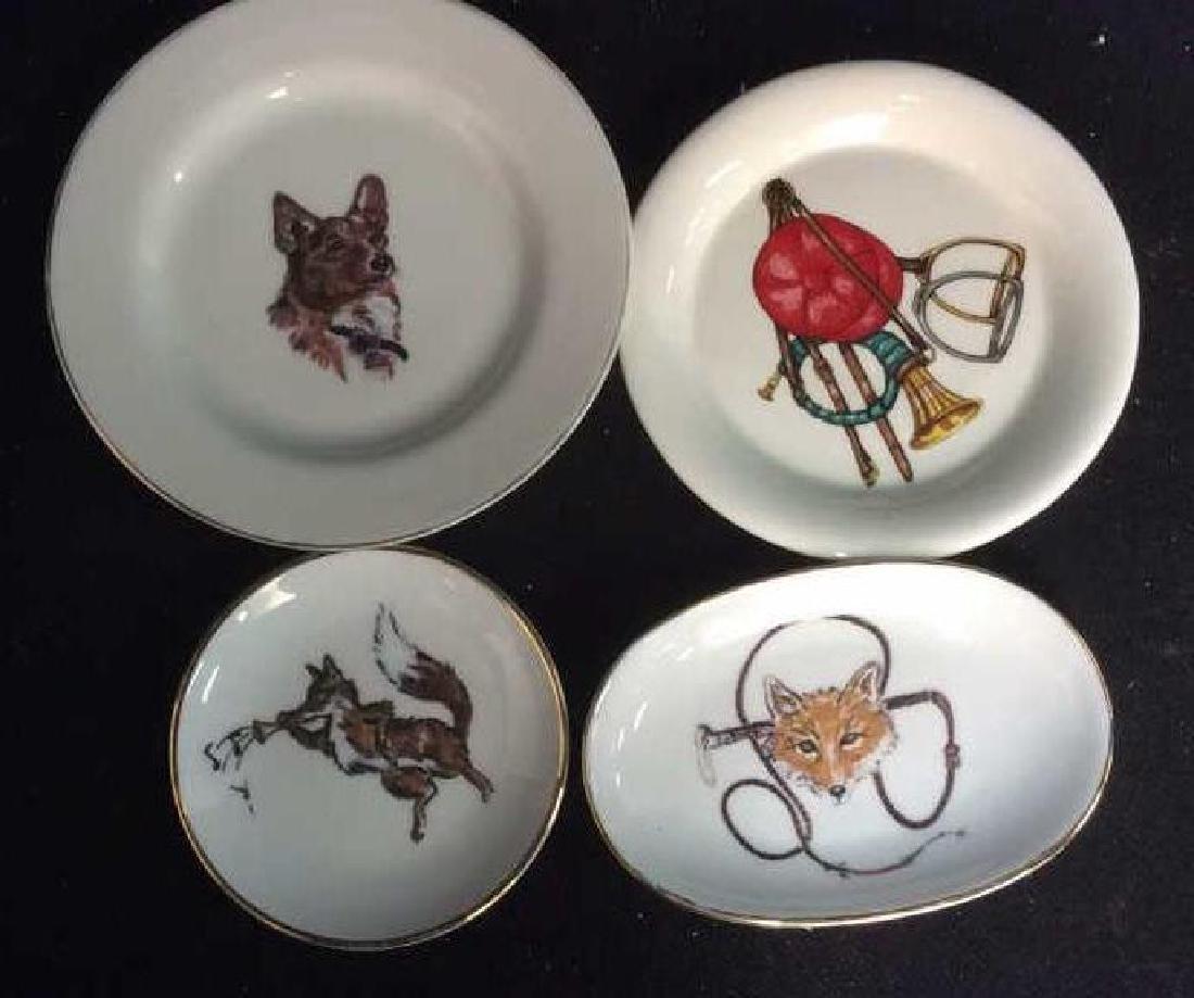 Group Fox Hunt Themed Porcelain Trinket Plates - 3