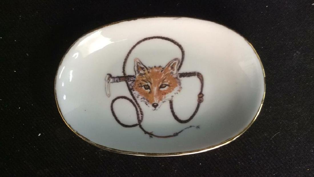 Group Fox Hunt Themed Porcelain Trinket Plates - 8