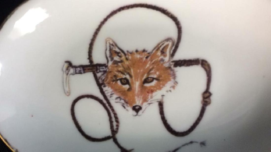Group Fox Hunt Themed Porcelain Trinket Plates - 9