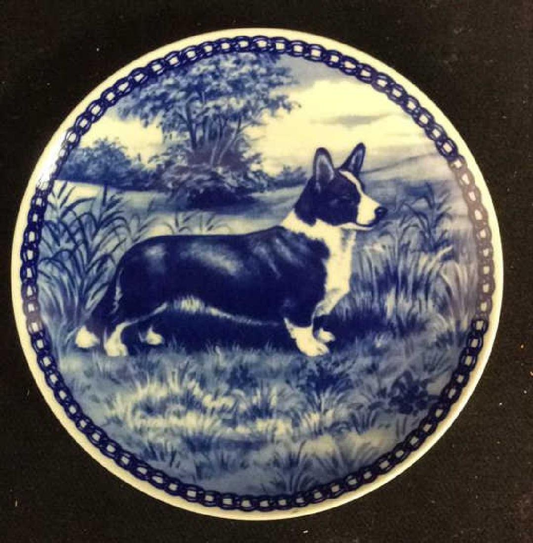 Signed Blue White Welsch Corgie Dog Plate