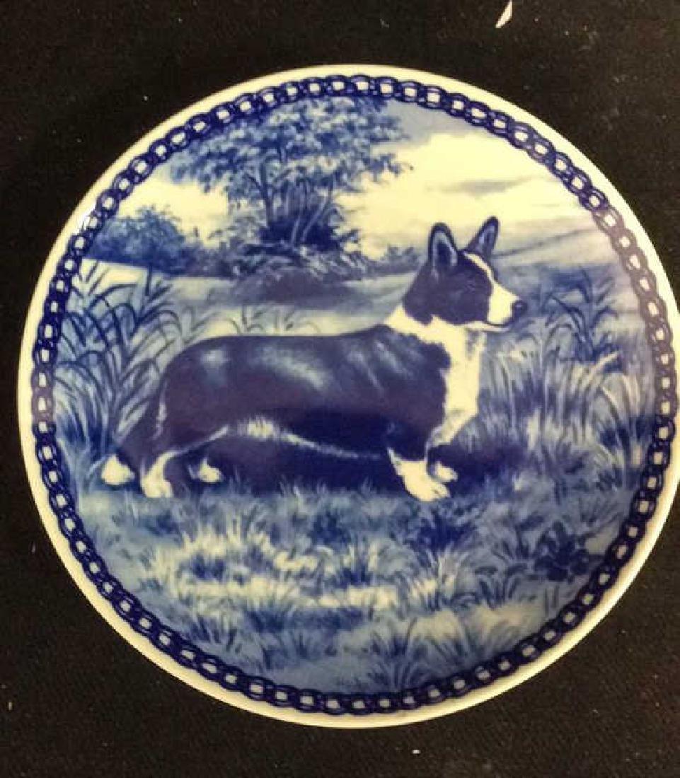 Signed Blue White Welsch Corgie Dog Plate - 2