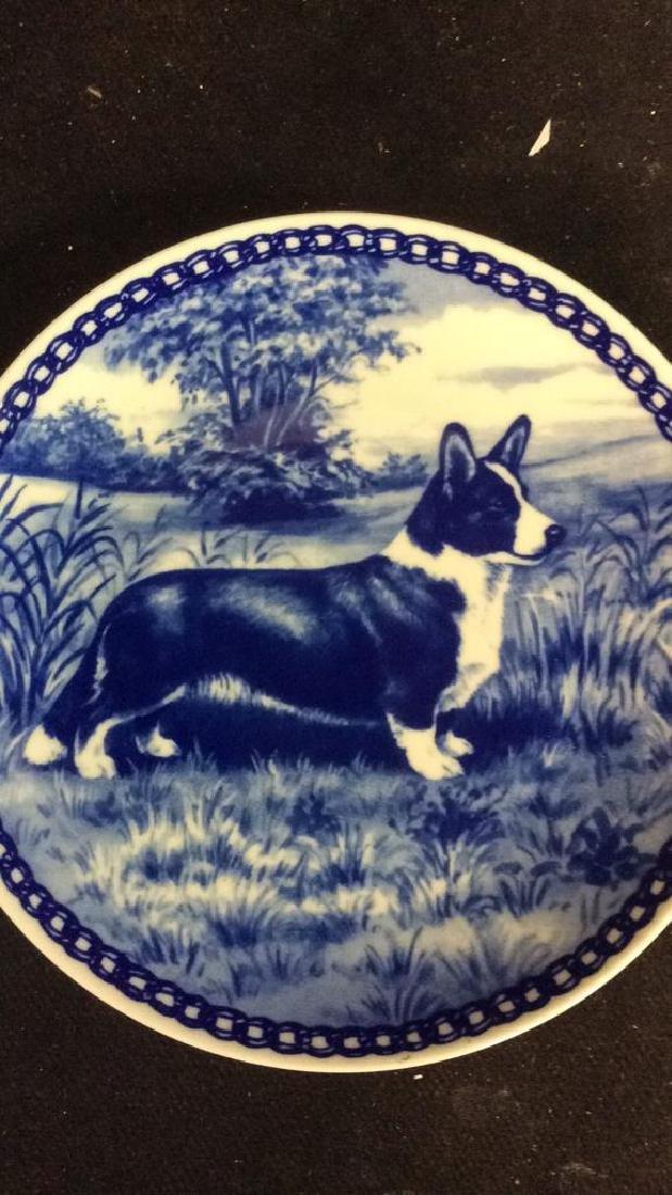Signed Blue White Welsch Corgie Dog Plate - 3
