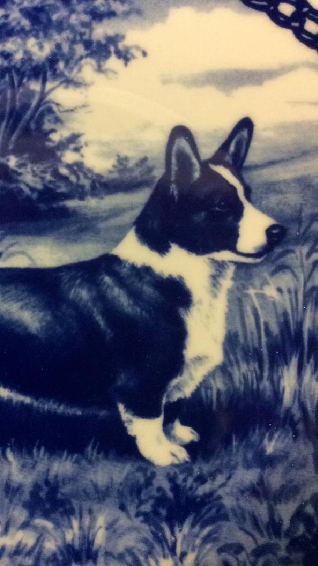 Signed Blue White Welsch Corgie Dog Plate - 4