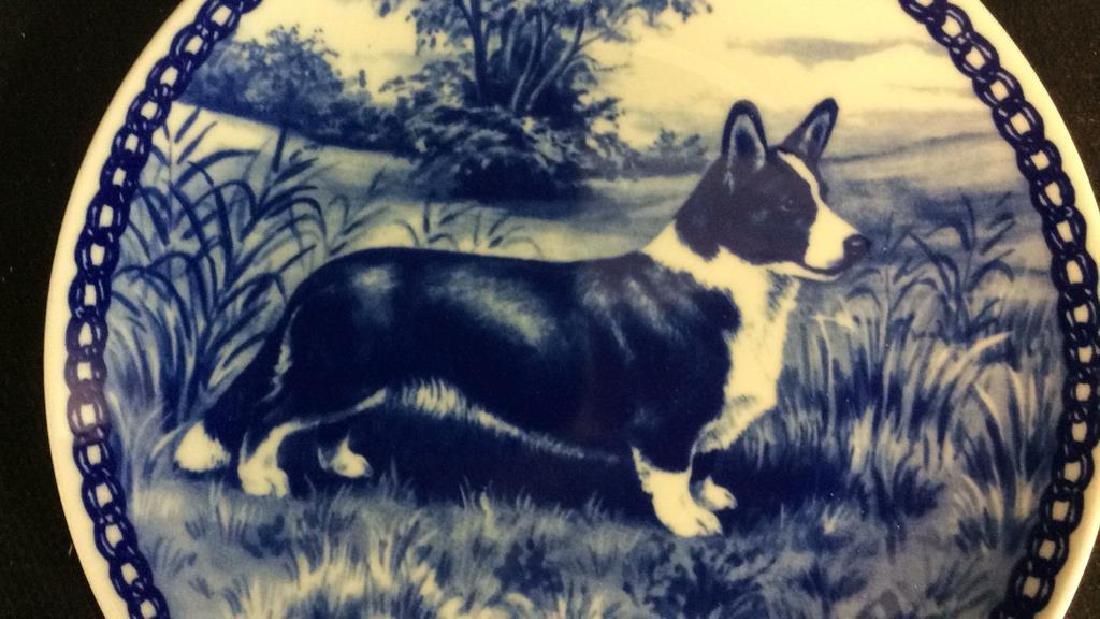 Signed Blue White Welsch Corgie Dog Plate - 5