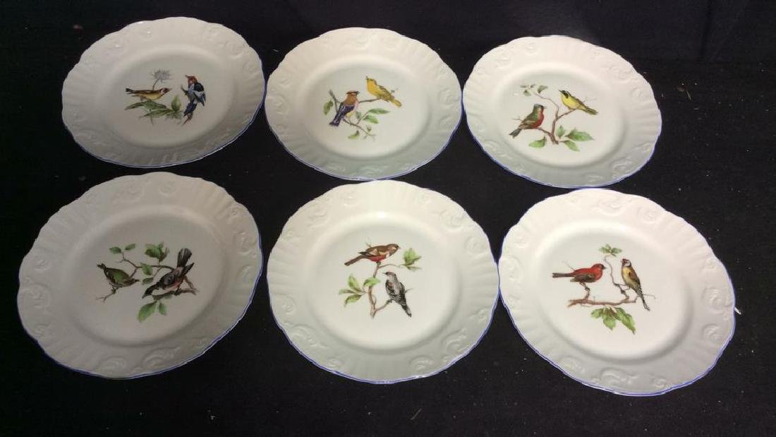 Porcelain Hand Painted Bird Plate Set 6, Portugal