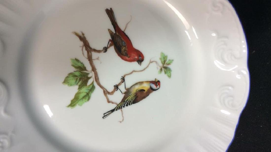 Porcelain Hand Painted Bird Plate Set 6, Portugal - 7