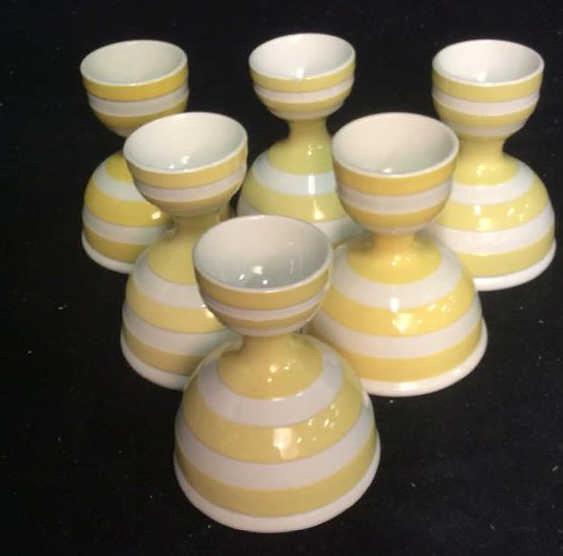 Group Lot Painted Ceramic egg cups, - 10