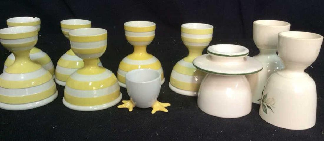 Group Lot Painted Ceramic egg cups,