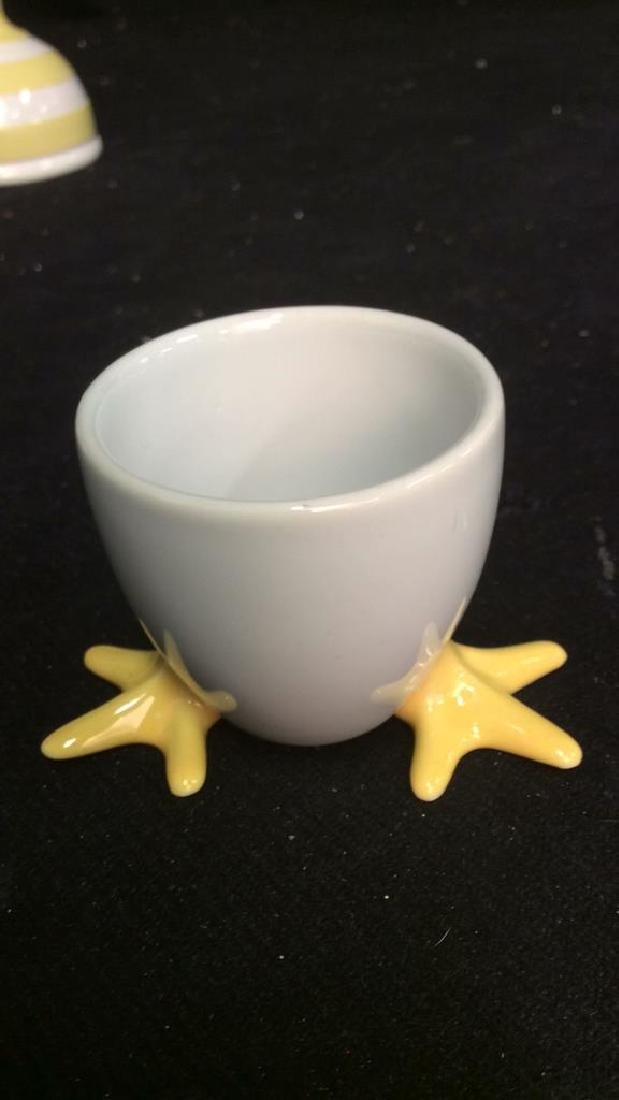 Group Lot Painted Ceramic egg cups, - 6