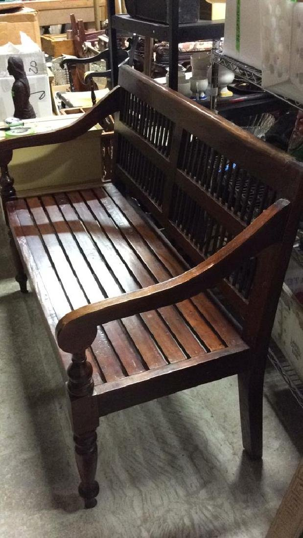Park Style Slat and Spindle Wooden Bench - 2