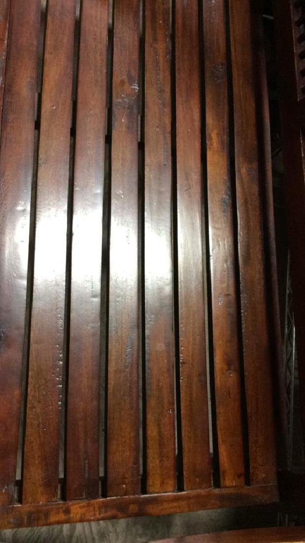 Park Style Slat and Spindle Wooden Bench - 3