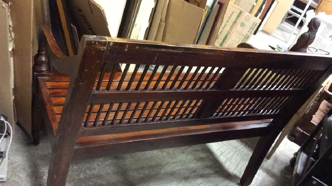 Park Style Slat and Spindle Wooden Bench - 8