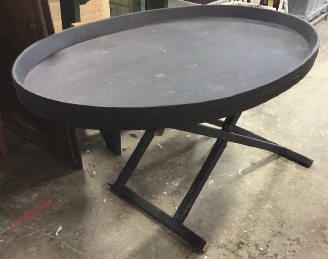 Black Toned Wooden Folding Table W Oval Top