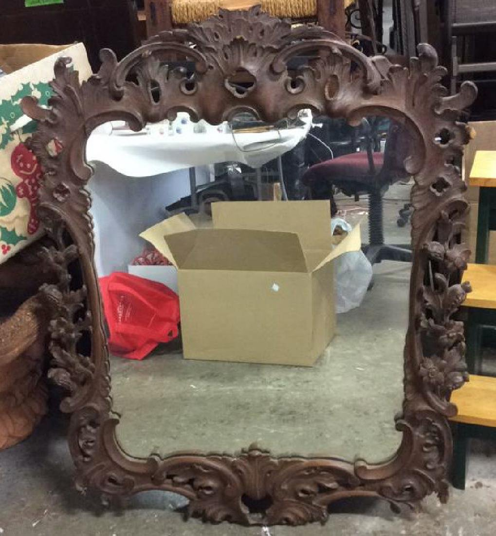 Ornately Carved Roccoc Wood  Mirror
