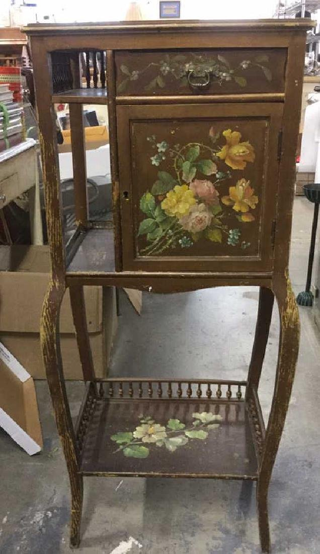 Vintage Floral Detailed Cabinet Display W Legs