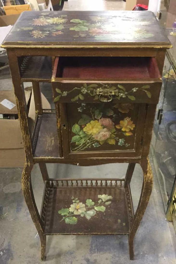 Vintage Floral Detailed Cabinet Display W Legs - 2