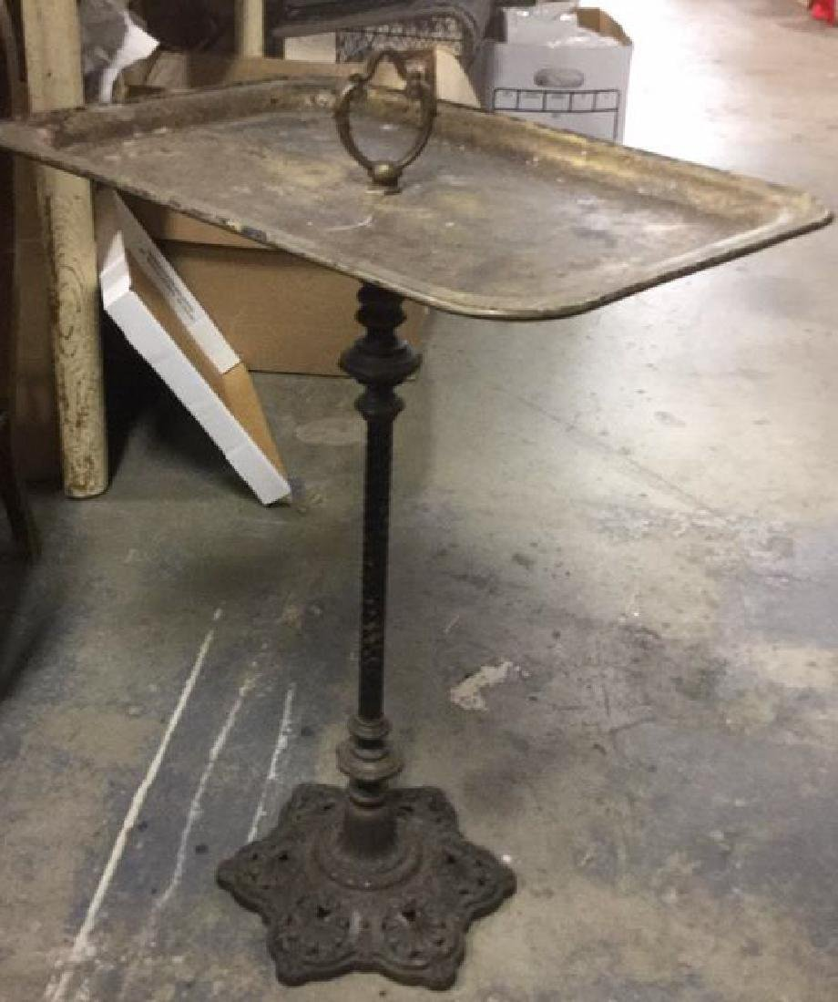 Vintage Poss Antique Metal Pedestal Tray Stand - 3