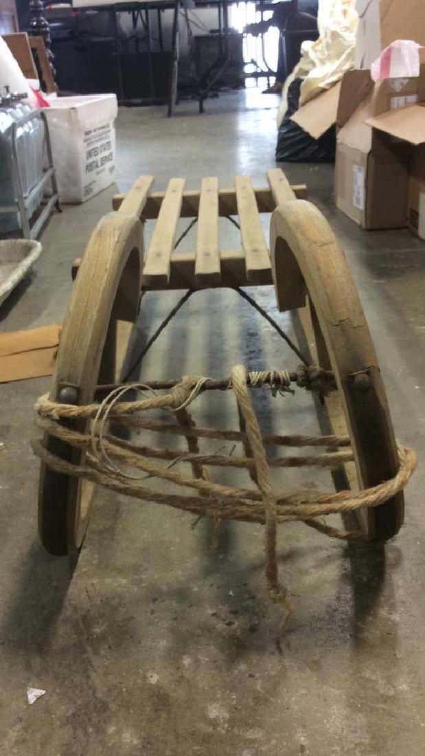 Vintage Wooden Hand Made Sled Toboggan